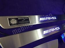 AMG Door Sill Panels, stainless steel, LED for Mercedes Benz C-Class W204 HQ SE