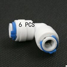 "6pcs Right Angle Elbow adaptor Connector 1/4"" thread For Water Pipe Tube Filter"