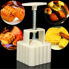 50g Square Baking Mooncake DIY Mold Pastry Biscuit Cake Mould Fower w/4 Stamps