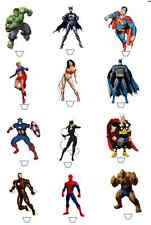 12 marvel super hero hulk batman spiderman edible rice cup cake stand up toppers
