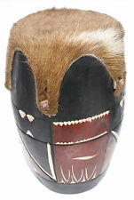 African Wood and Leather Drum Hand Crafted Collectible Decorated Swazi Tribe Art