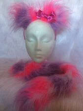 Animal Ears & Tail With Bow Lilac, White & Pink Luxury Fake Fur Fancy Dress Set