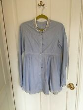 Cabbages & Roses Blue and White Stripe Shirt, size 14, VGC