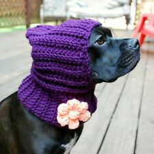 Plum with Peach Flower Crochet Snood for Dogs - Free Shipping