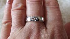Simulated CZ Silver Plated  Heart Cocktail Dress Band Ring Size P