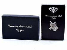 Fox Head Side Finest English Pewter Lapel Pin Badge Brooch- Hand Made - Gift Box