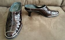 Romus 6 36 brown patent leather clogs heels shoes made in Spain