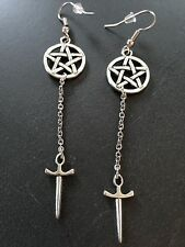 Silver Pentagram Star and Dagger Dangle Drop Hook Earrings Wiccan Goth