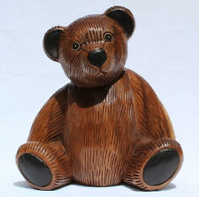 Wooden Teddy Bear 27cm tall handcarved from Acacia wood in Thailand Fair Trade