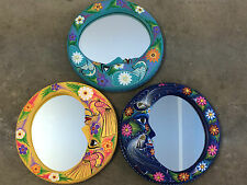 Amate Style Painted Clay Mexican Moon Wall Mirror