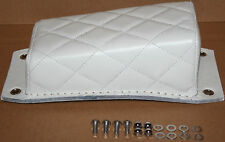 *NEW White Leather Pillion P Pad Seat Chopper Bobber Diamond, Bates Style (161)*
