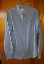 Gap Designed and Crafted Blue Chambray Cotton Button Down Suit Dress Shirt M Euc