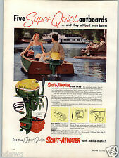 1955 PAPER AD Scott Atwater Outboard Motor Fishing Boat 10 HP Bail O Matic COLOR