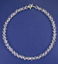 Natural clear faceted 8mm crystal bead sterling silver necklace NKL240009 -18""
