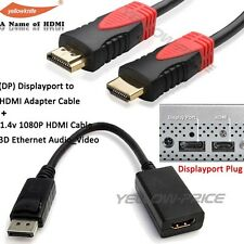 Displayport to HDMI Video Converter+ 15FT HDMI Cable for Dell ThinkPad Lenovo HP