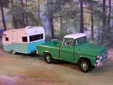1958 GMC 4x4 TRUCK + SHASTA AIRFLYTE CAMPER 1/64 SCALE COLLECTIBLE MODELS