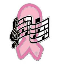 Breast Cancer Pink Ribbon Music Notes Lapel Pin Musician Band Awareness New