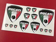 Kit 14 Adesivi DUCATI Corse Old Tricolore Bandiera Italia