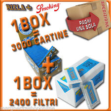 3000 CARTINE Smoking BLU CORTE=1box+2400 FILTRI 5,5MM RIZLA ULTRASLIM 1box