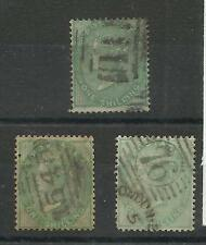 1855/7 Sg 71, 72 & 73, Trio of 1/- Greens with No Corner letters, G - F Used.