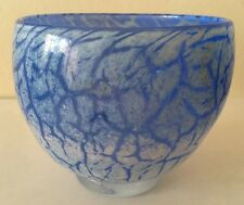 Kosta Boda Crystal Art Glass Blue Marbled Swirl Bowl Ulrica Hydman Vallien Sign