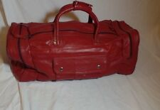 Vintage 70s 80s Red Leather Shoulder Luggage Gym Duffle Travel Bag