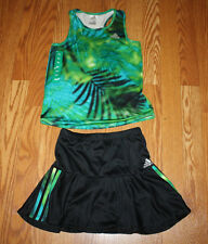 NWT Girls ADIDAS Black Green Blue Skort Tank Set Active Outfit Size 6X