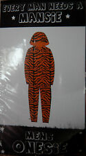 NEW 1x Sz S Mansie Onesie Tiger Zip Hood Supersoft Furry Fleece Suit Pj Footless
