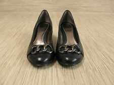 Sofft Black Leather Heels Women's Size 6.5 M Slip-On Loafers Metal Accent Med