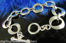 "8 Oval Links 0.925 STERLING SILVER Estate 8"" x 5/8"" Bracelet with Toogle Closure"