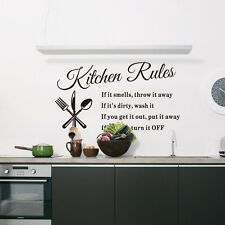 US Kitchen Rules Quote Wall Stickers DIY Home Decor Vinyl Art Decal Removable
