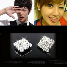 1Pair Crystal Rhinestone Square Magnetic CLIP Earrings Stud Mens Women Fashion