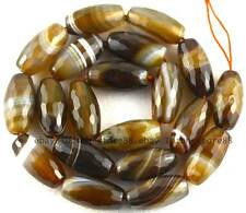 Olivary 10x20mm Dark Coffee Agate Rice Faceted Loose Beads 15""