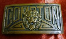 Vintage COMPTON Solid Brass Belt Buckle Lions South Central Rare
