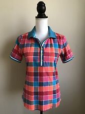 BOGNER POLO SHIRT SIZE MEDIUM PINK BLUE ORANGE CHECK TEE T-SHIRT GOLF