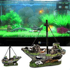 Aquarium Decoration Pirate Wreck Sunk Ship Boat For Fish Tank Resin Ornament