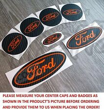 Center Caps&Badges Black Carbon&Orange Sticker FORD Fiesta ST Ka M Mondeo Focus