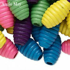 50* Mixed Large Fluted Oval 20x11mm Wood Beads ~ Pick your color