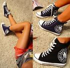 WOMENS GIRLS HIGH TOP WEDGE SNEAKERS TRAINERS LACE UP ANKLE BOOTS NAVY BLACK 310