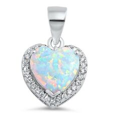 Lab White Opal Heart with CZ .925 Sterling Silver Pendant Necklace