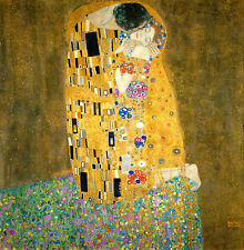 "Gustav Klimt ""Kiss"" Reproduction of painting 8.3X8.3 canvas print poster"