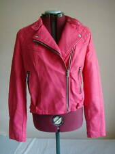 FAB HOT PINK LEATHER LOOK BIKER JACKET BRAND NEW SIZE UK 12 EUR 40
