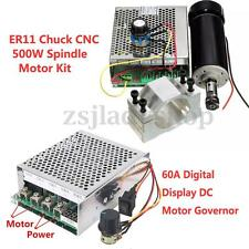 500W 100VDC ER11 chuck CNC Spindle Motor + 52mm Clamps + Speed governor CNC DIY