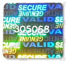 504x LARGE Security Hologram Stickers, NUMBERED, 24mm Square Labels, Warranty