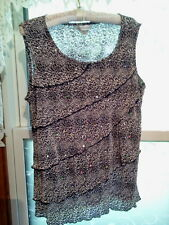 CHRISTOPHER & BANKS LADIES TOP IN BLACK AND WHITE SPANGLED ANIMAL PRINT SIZE XL