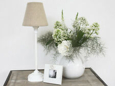 SHABBY CHIC FRENCH WHITE VINTAGE ANTIQUE BEDSIDE LAMP BASE LINEN SHADE PETITE
