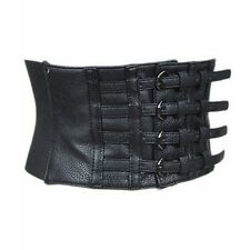 Faux Leather Cool Black Fastener Wide Waist Belt Womens Girdle Strap brand New