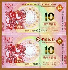 Macao / Macau, SET 2 x 10 Patacas, 2016, BOC and BNU, P-New, UNC   Monkey Set