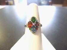 Multi colored Tanzanite and Diamond Ring 925