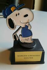 "VTG 1970s AVIVA PEANUTS SNOOPY WORLD'S GREATEST GOLFER RESIN 5"" TROPHY"